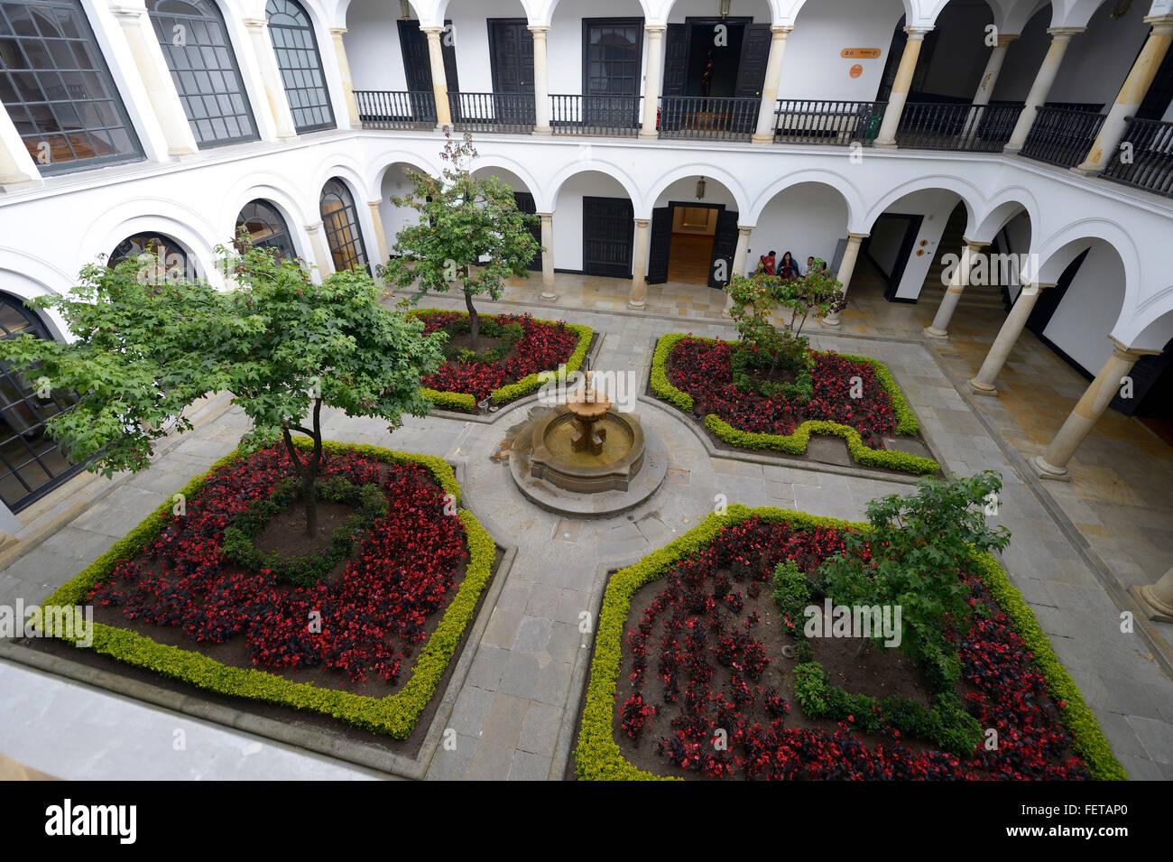 Cour intérieure, Musée Botero ou Musée Botero, La Candelaria, Bogotá, Colombie Photo Stock