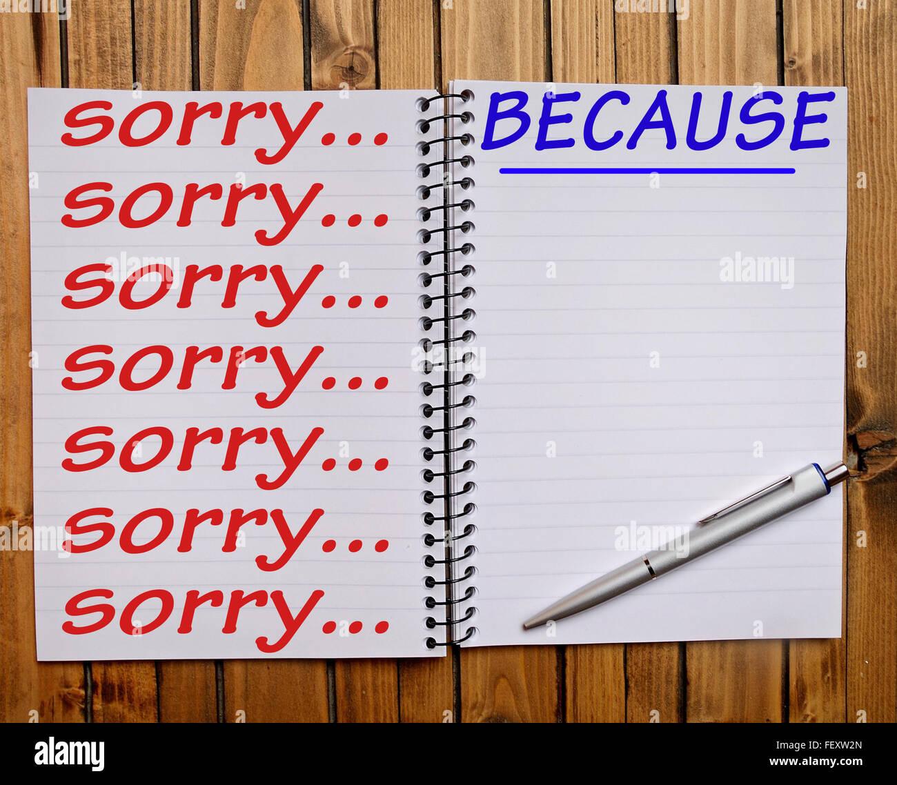 Désolé... Parce que Word sur votre bloc-notes Photo Stock