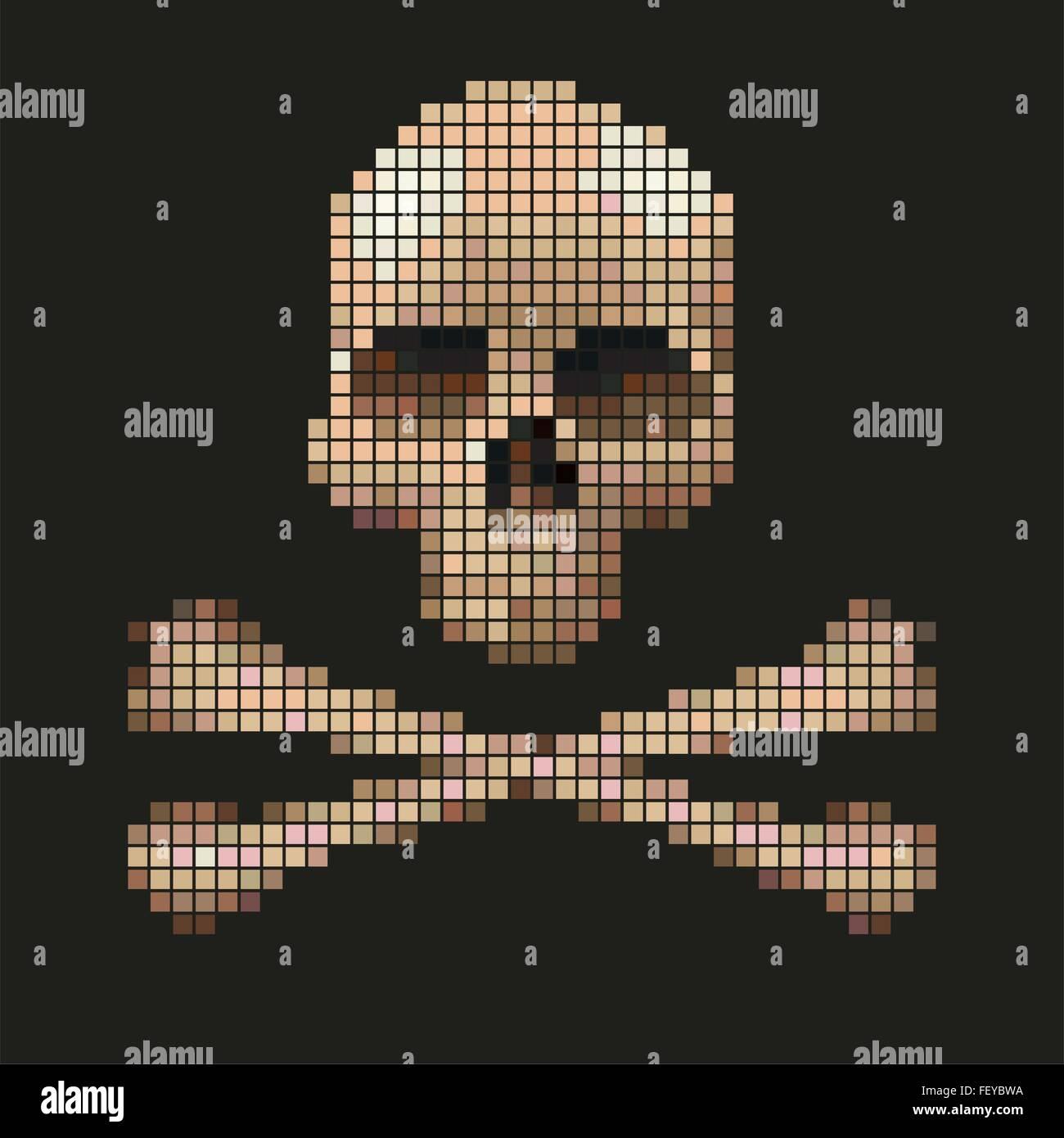 Tête De Mort Provenant De Pixels Vecteurs Et Illustration
