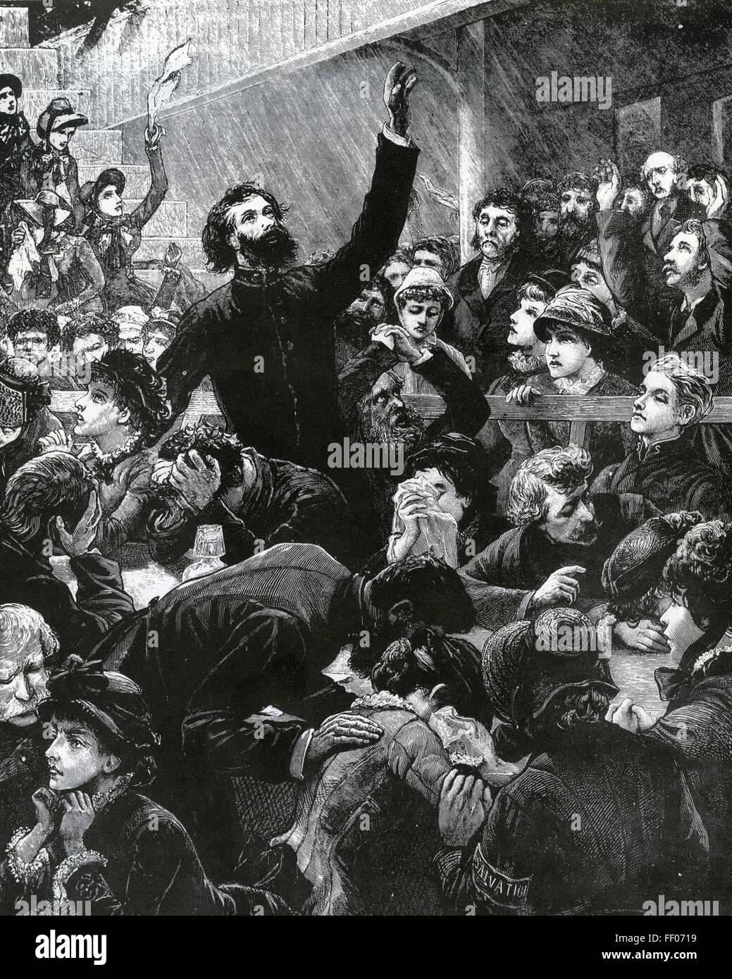 Un service de l'ARMÉE DU SALUT au siège de Londres à Whitechapel Road vers 1870 Photo Stock