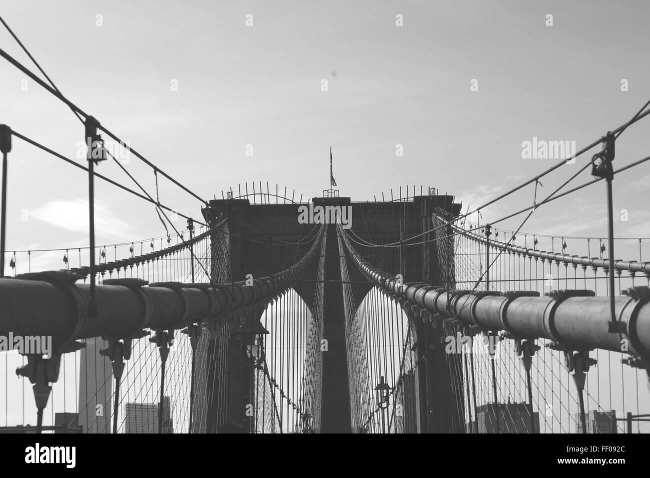 Pont de Brooklyn Brooklyn Bridge Monochrome Monochrome Banque D'Images
