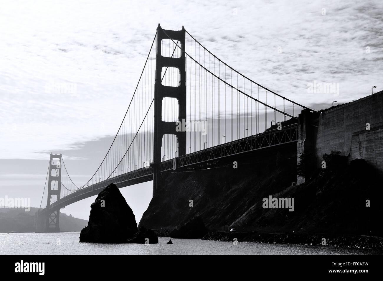 Golden Gate Bridge Golden Gate Bridge Monochrome Monochrome Banque D'Images