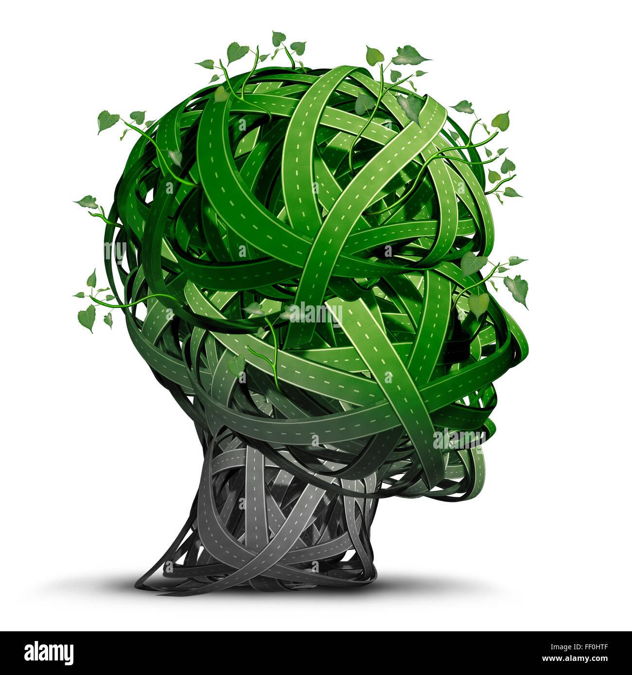 La pensée de transport vert et les carburants comme symbole d'un groupe de routes vertes en forme de tête Photo Stock