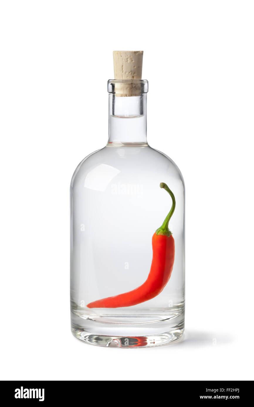 Bouteille avec piment du vinaigre sur fond blanc Photo Stock