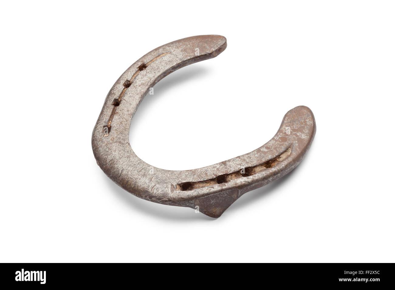 Vieux métal horseshoe onn fond blanc Photo Stock