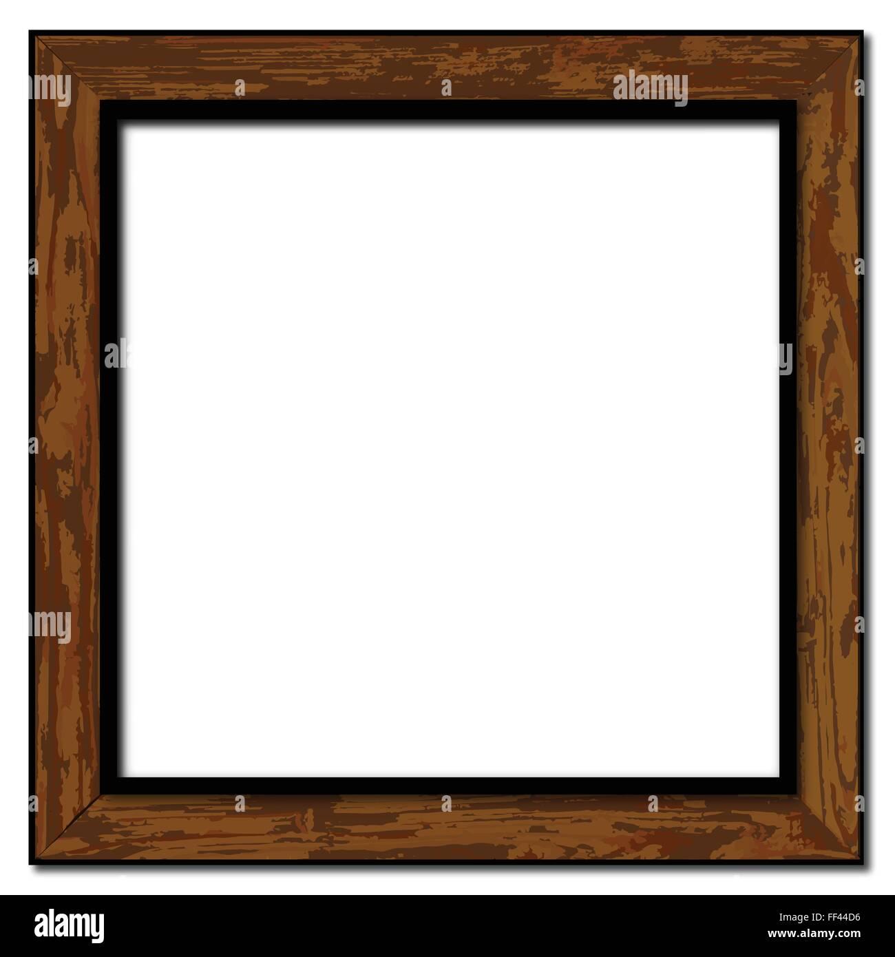 Un cadre photo en bois usé et sur un fond blanc Photo Stock