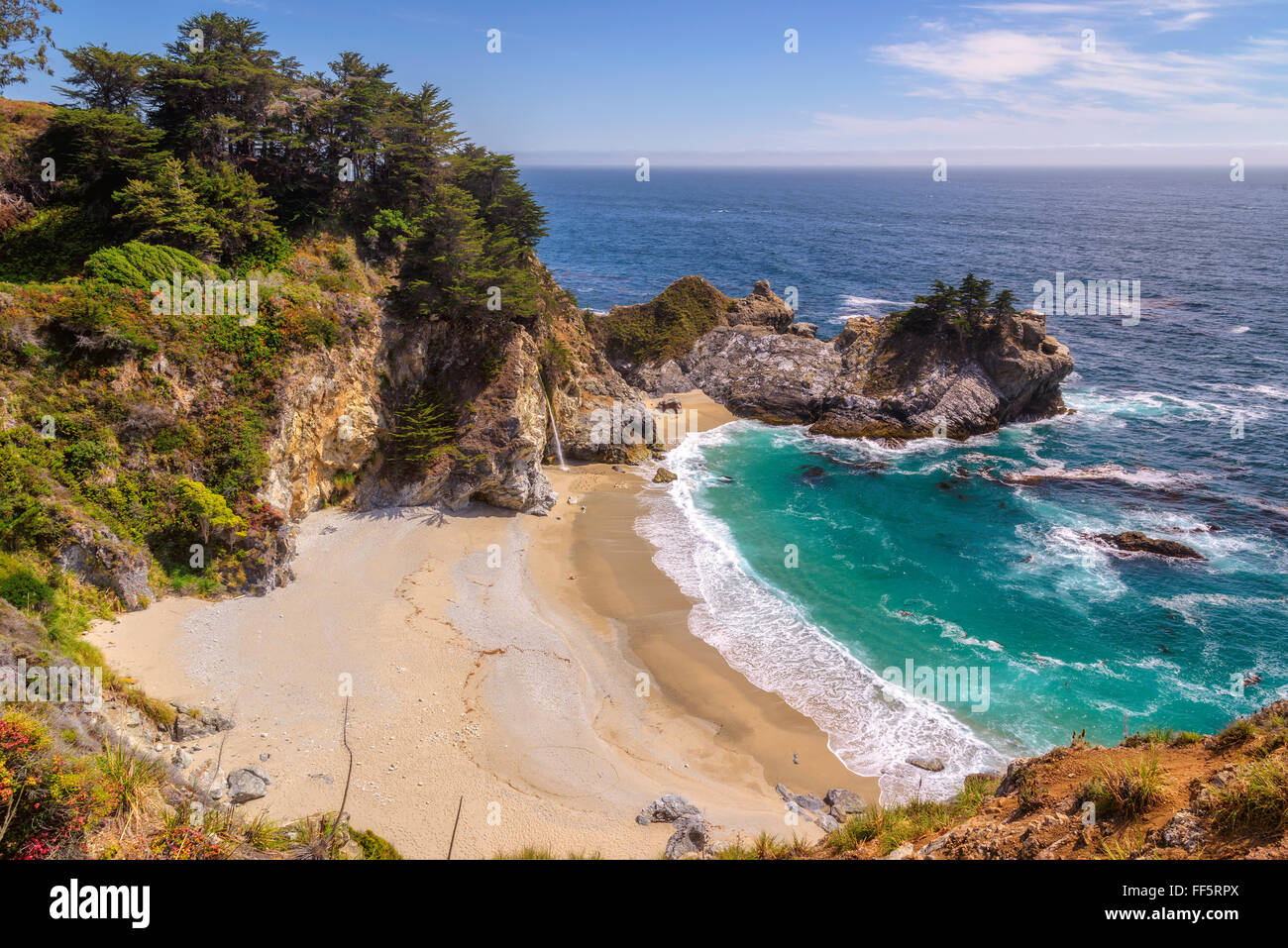 Belle plage sur la côte Pacifique de la Californie Photo Stock
