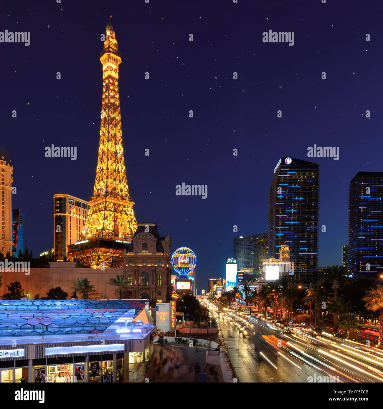Vue sur le Strip de Las Vegas Photo Stock