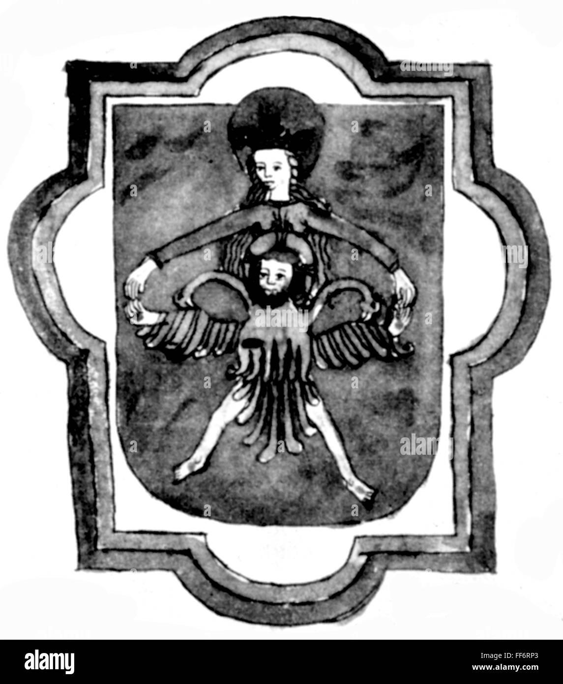 L'alchimie, pour le mercure, symbole alchimique, miniature, manuscrit du 16e siècle, Bibliothèque cantonale Valdiana, Banque D'Images