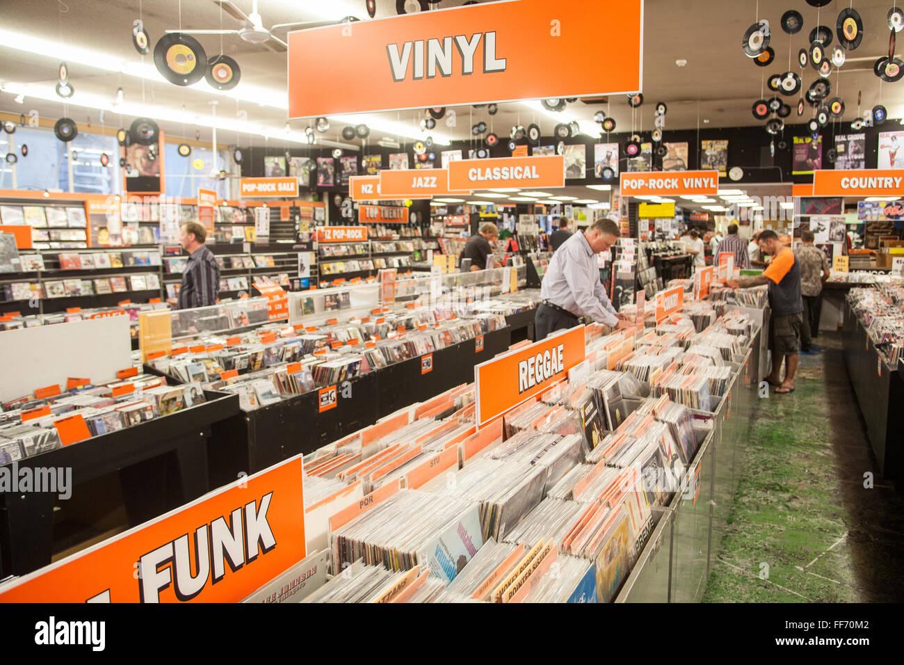 Du vrai Groovy Records sur Queen Street, Auckland, île du Nord, Nouvelle-Zélande, Pacifique, Photo Stock