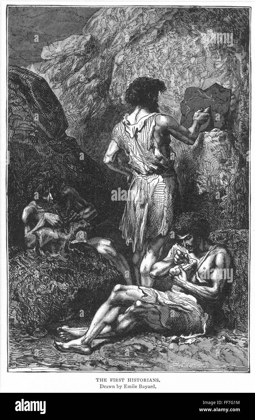 L Homme Prehistorique Europeenne Nwood Gravure Fin Du Xixe