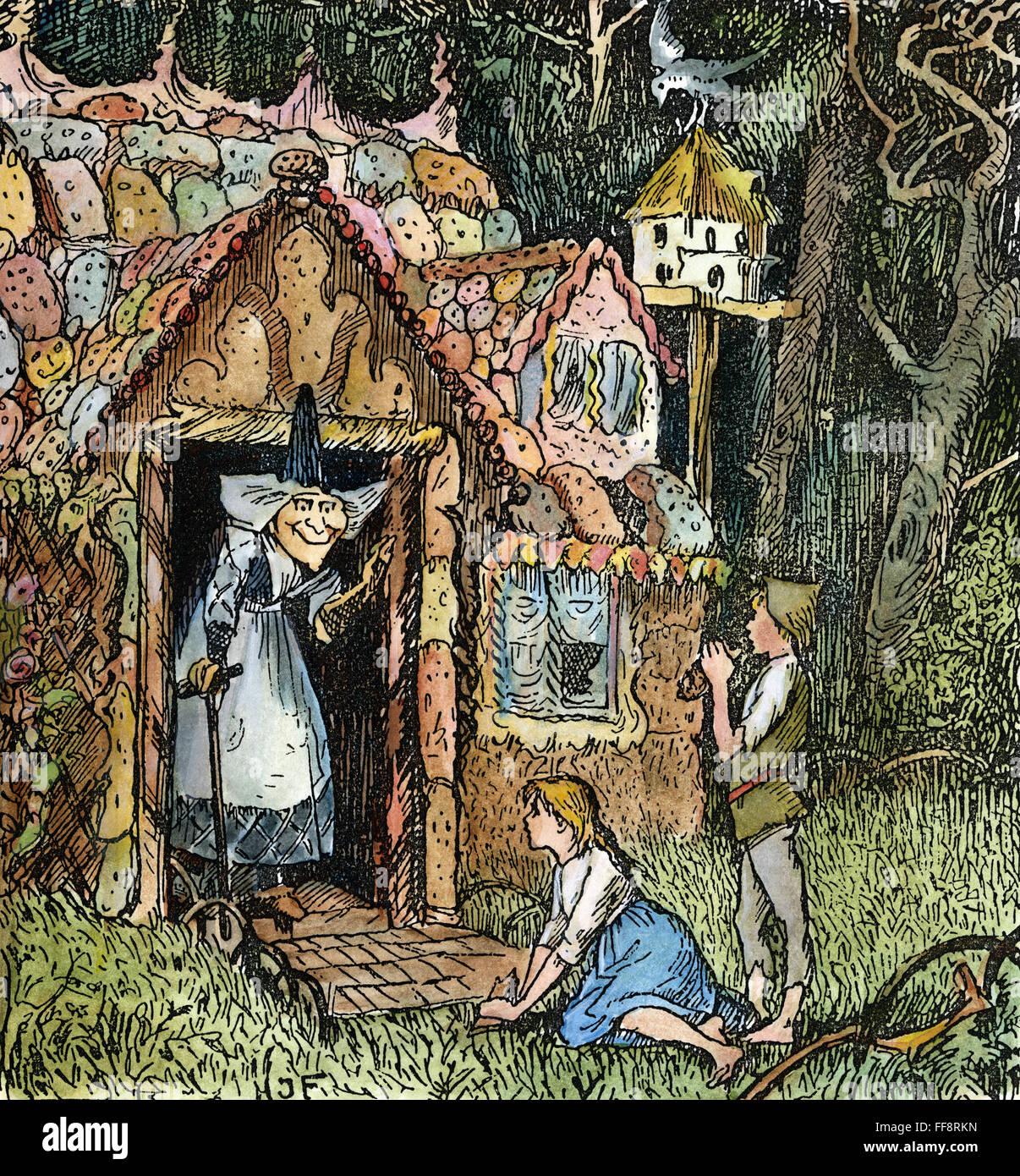 Nhansel et gretel arrivent à la maison de la sorcière dessin c1891 par le juge henry ford pour le conte de fées des frères grimm