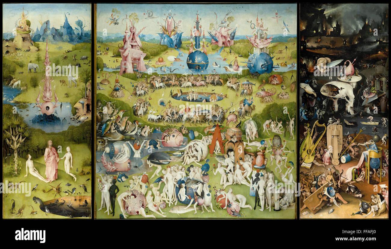 Le triptyque du Jardin des délices de Jérôme Bosch peinture sur panneau Photo Stock