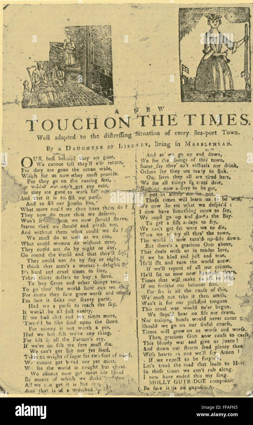 Broadside Révolutionnaire Na Bordée De 1779 Avec Un Poème