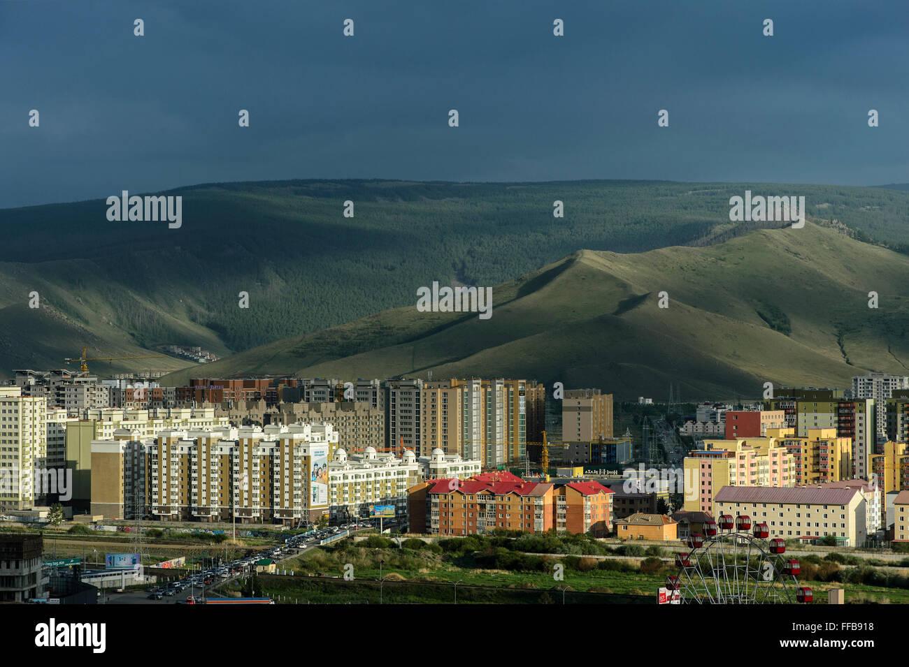 Quartier résidentiel récemment construit, Oulan Bator, Mongolie Photo Stock