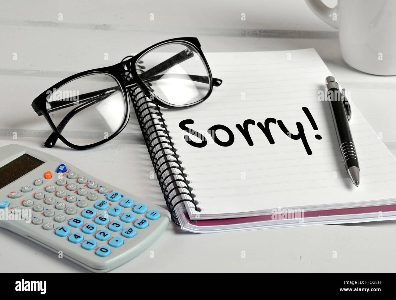 Désolés mot sur la page de l'ordinateur portable Photo Stock