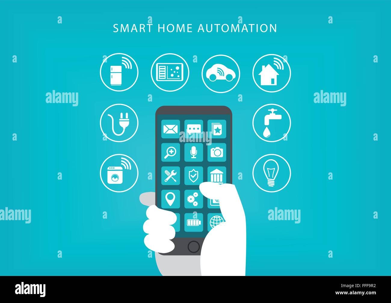 Smart home concept d'automatisation. Vector illustration of hand holding smart phone et la connexion à l'électroménager. Illustration de Vecteur