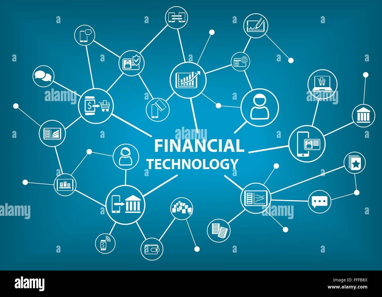 La technologie financière (Fin-Tech) concept comme arrière-plan d'illustration vectorielle Photo Stock