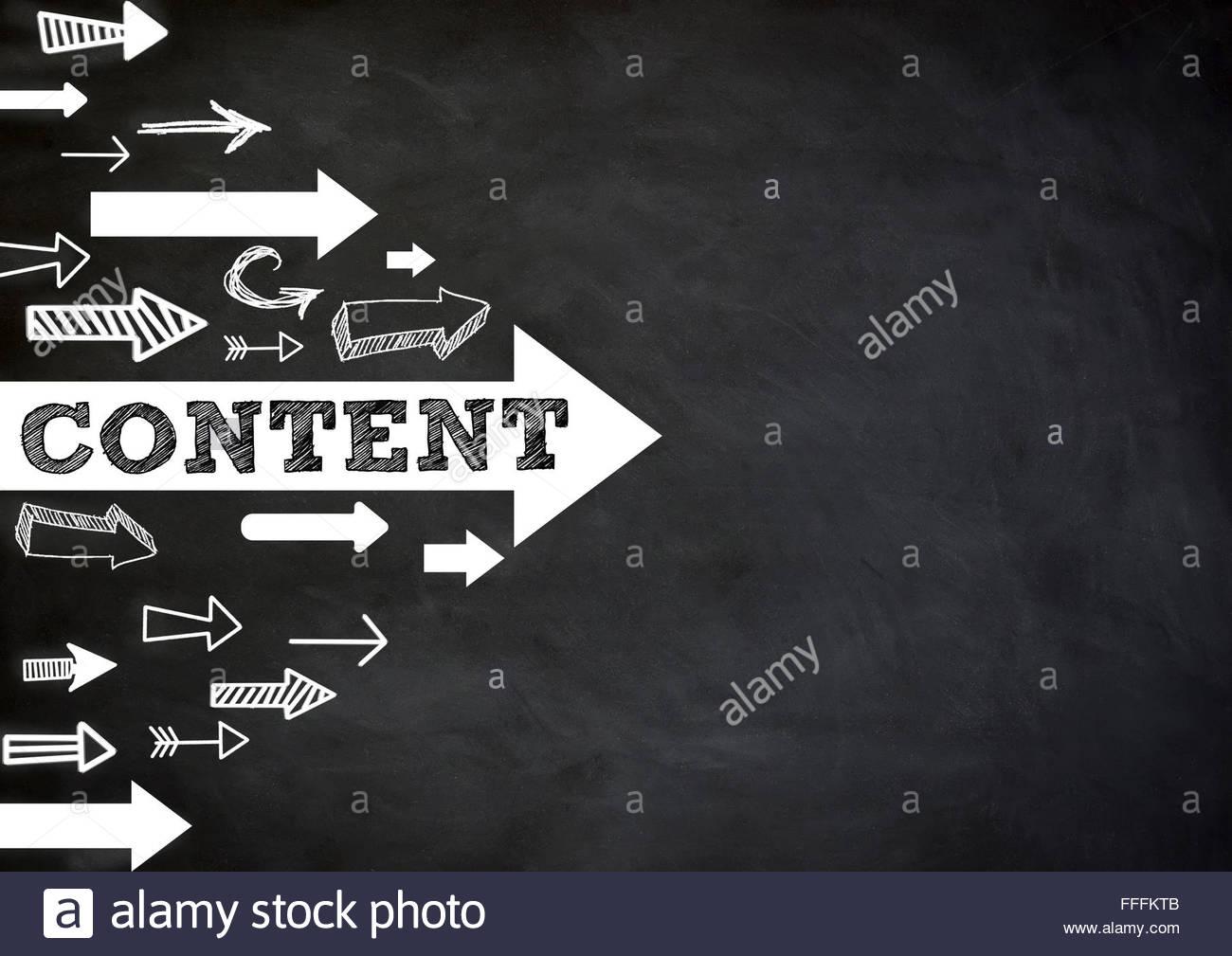 Contenu - direction Photo Stock