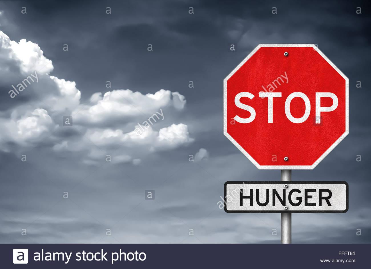 Arrêter la faim - stop road sign warning Photo Stock