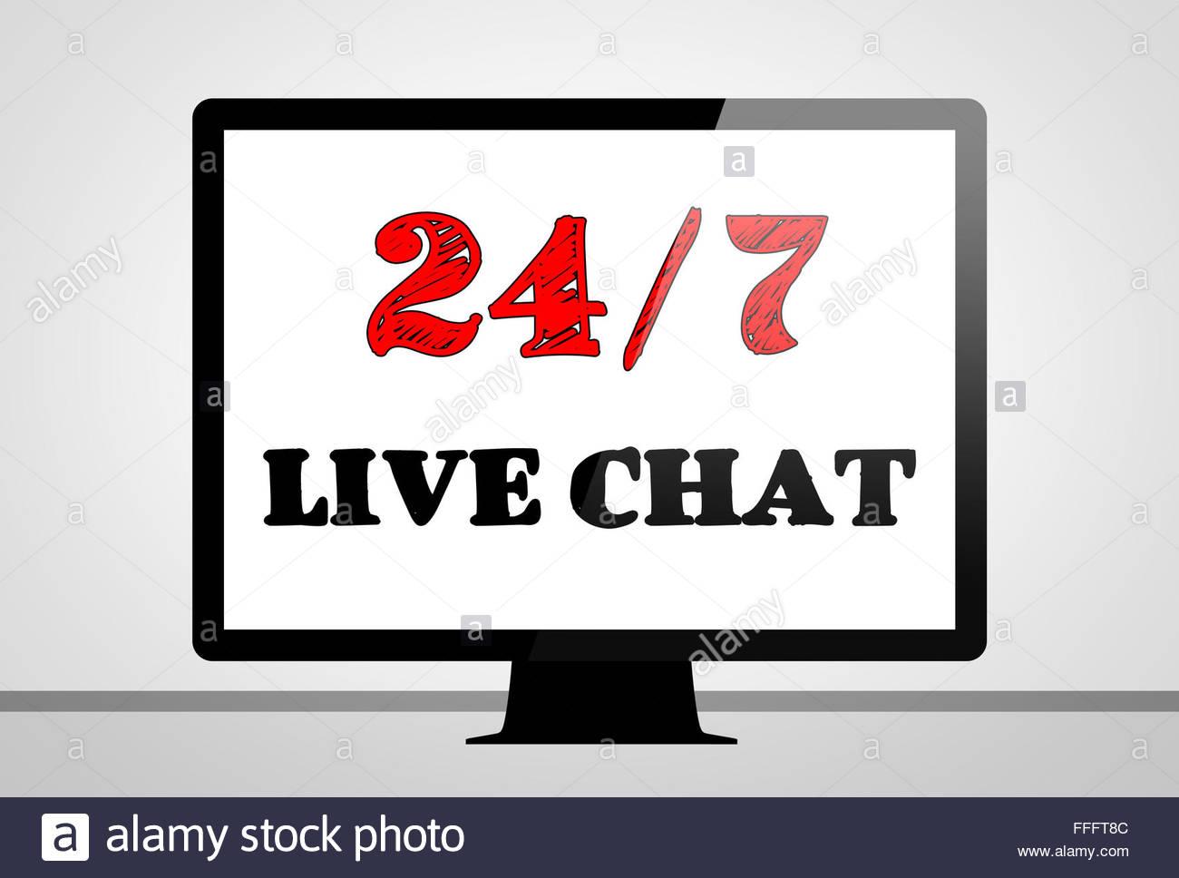 Live chat support- ordinateur concept illustration Photo Stock