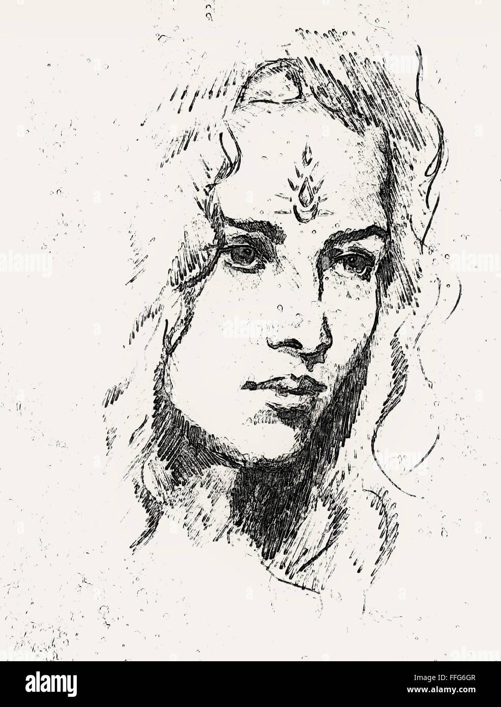 Dessin Portrait Jeune Femme Avec Ornement Sur Visage