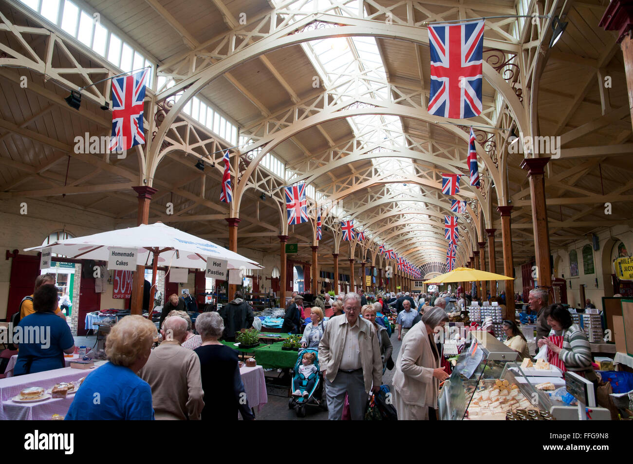 Marché de pannier intérieur Barnstaple Devon, Angleterre Angleterre Europe Photo Stock