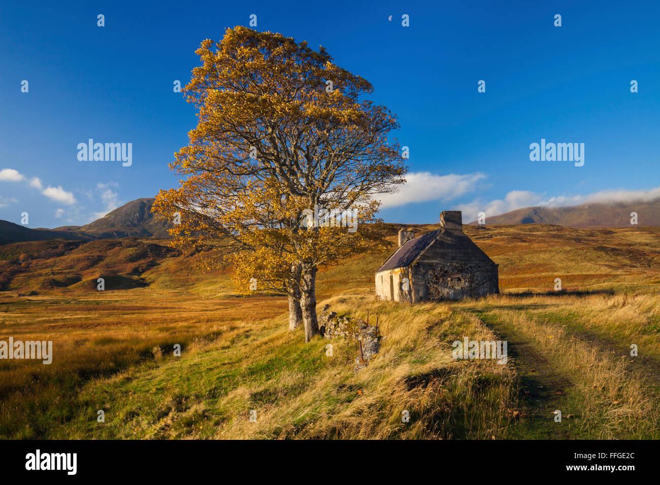 Un bâtiment abandonné au Lettermore sur Loch Loyal, Sutherland, Scotland. Photo Stock