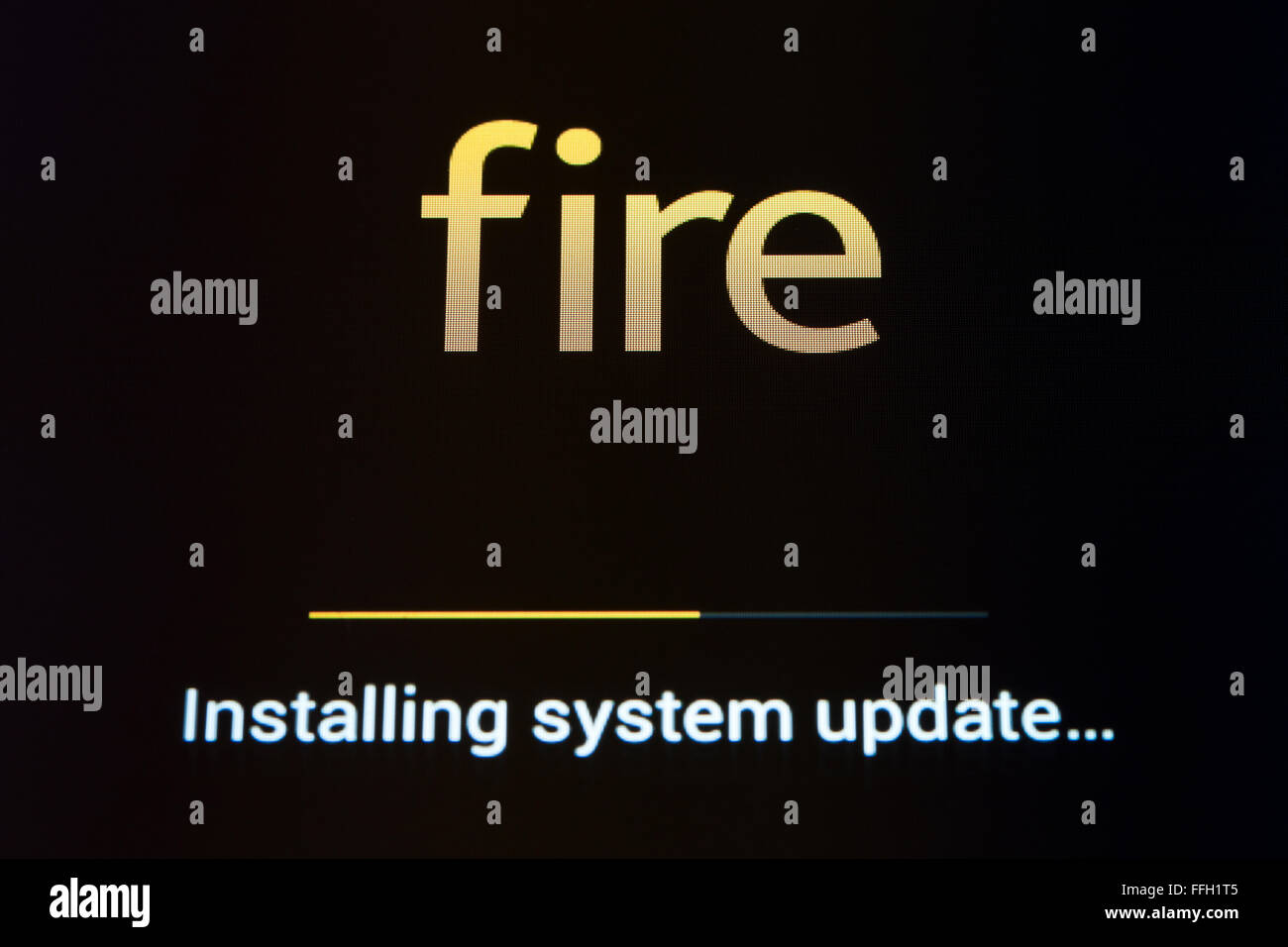 Amazon Fire tablet mise à jour du logiciel système, l'écran d'installation - USA Photo Stock