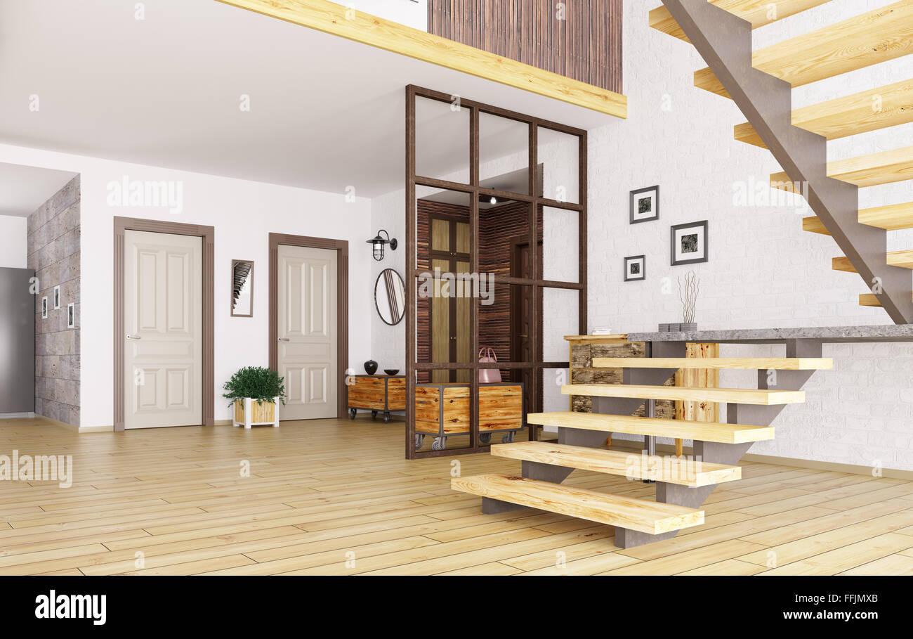 Hall D Entrée Moderne intérieur du hall d'entrée avec escalier moderne 3d render