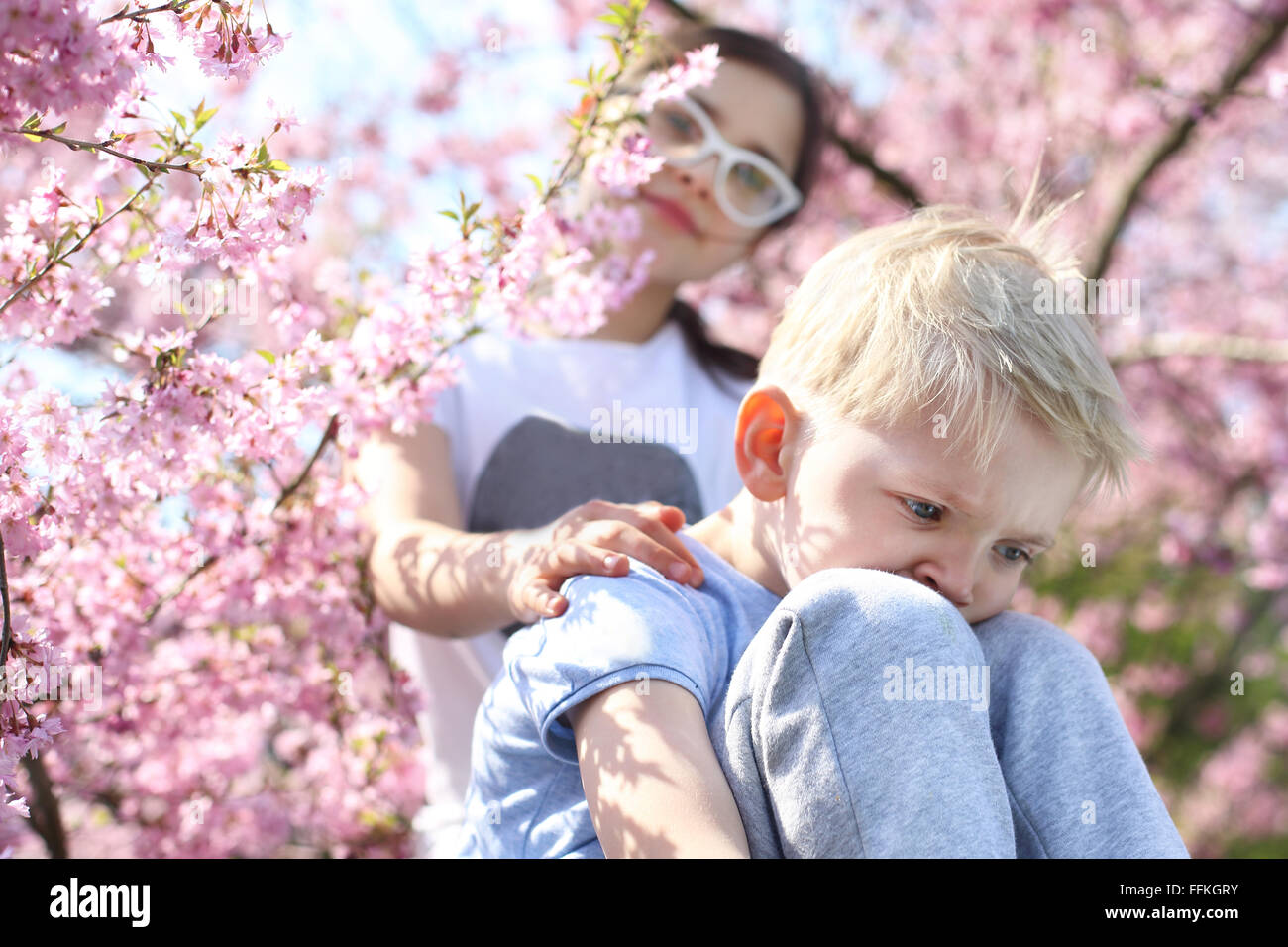 Garder la tête haute, il sera bien!. Des enfants assis sous un arbre en fleurs, sœur réconforté Photo Stock