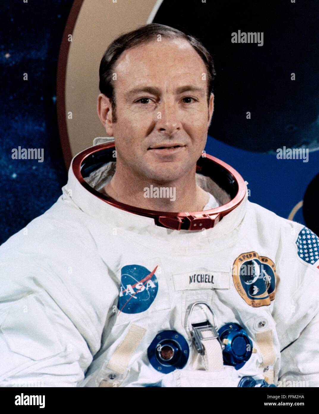 Portrait de l'alunissage d'Apollo 14 mission pilote du module lunaire et de l'astronaute Edgar D. Mitchell Photo Stock