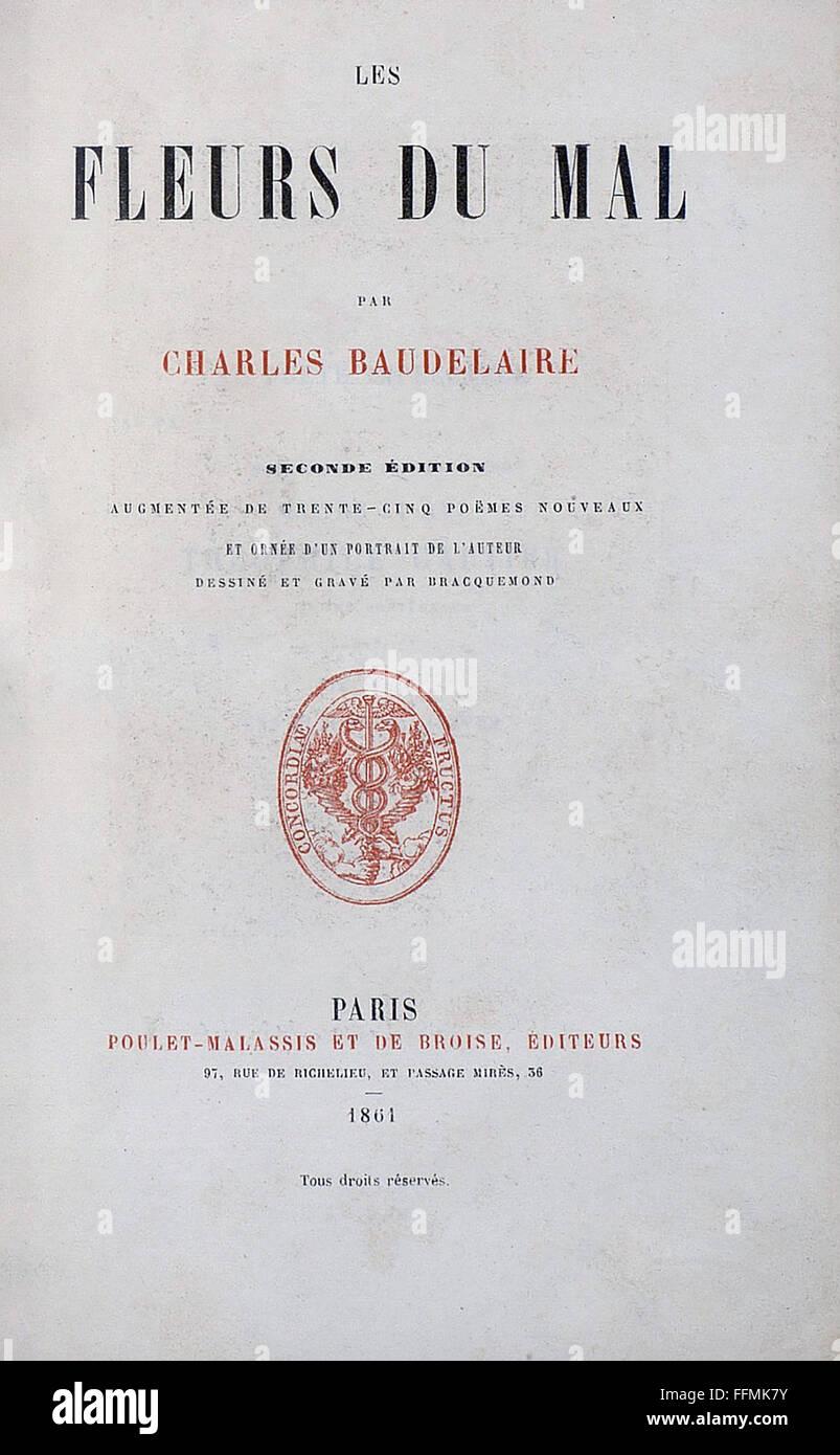 """La littérature, le titre et la page de titre, 'Les Fleurs du Mal"""" (Les Fleurs du Mal), par Charles Photo Stock"""