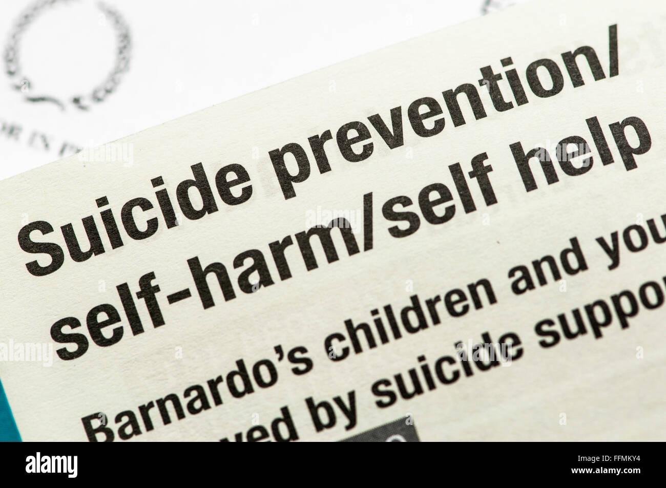 Répertoire de l'automutilation, la prévention du suicide et d'autres services de santé mentale Photo Stock