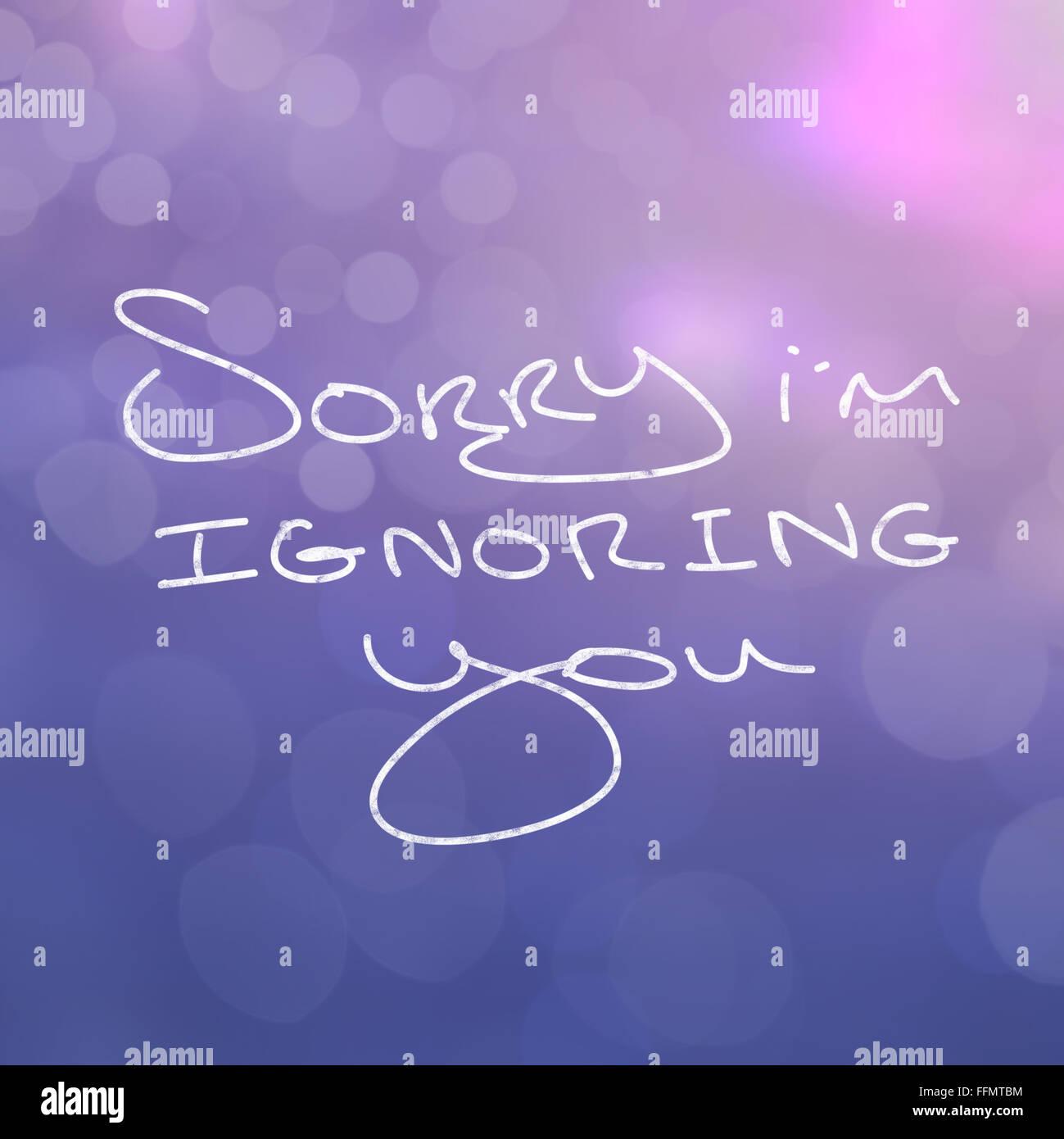 Close up de paroles en disant désolé vous ignore la GI Photo Stock