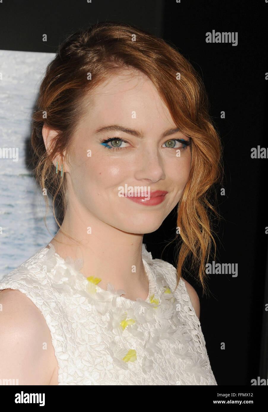 L'actrice Emma Stone arrive à la première de Sony Pictures Classics' 'homme' irrationnelle Photo Stock