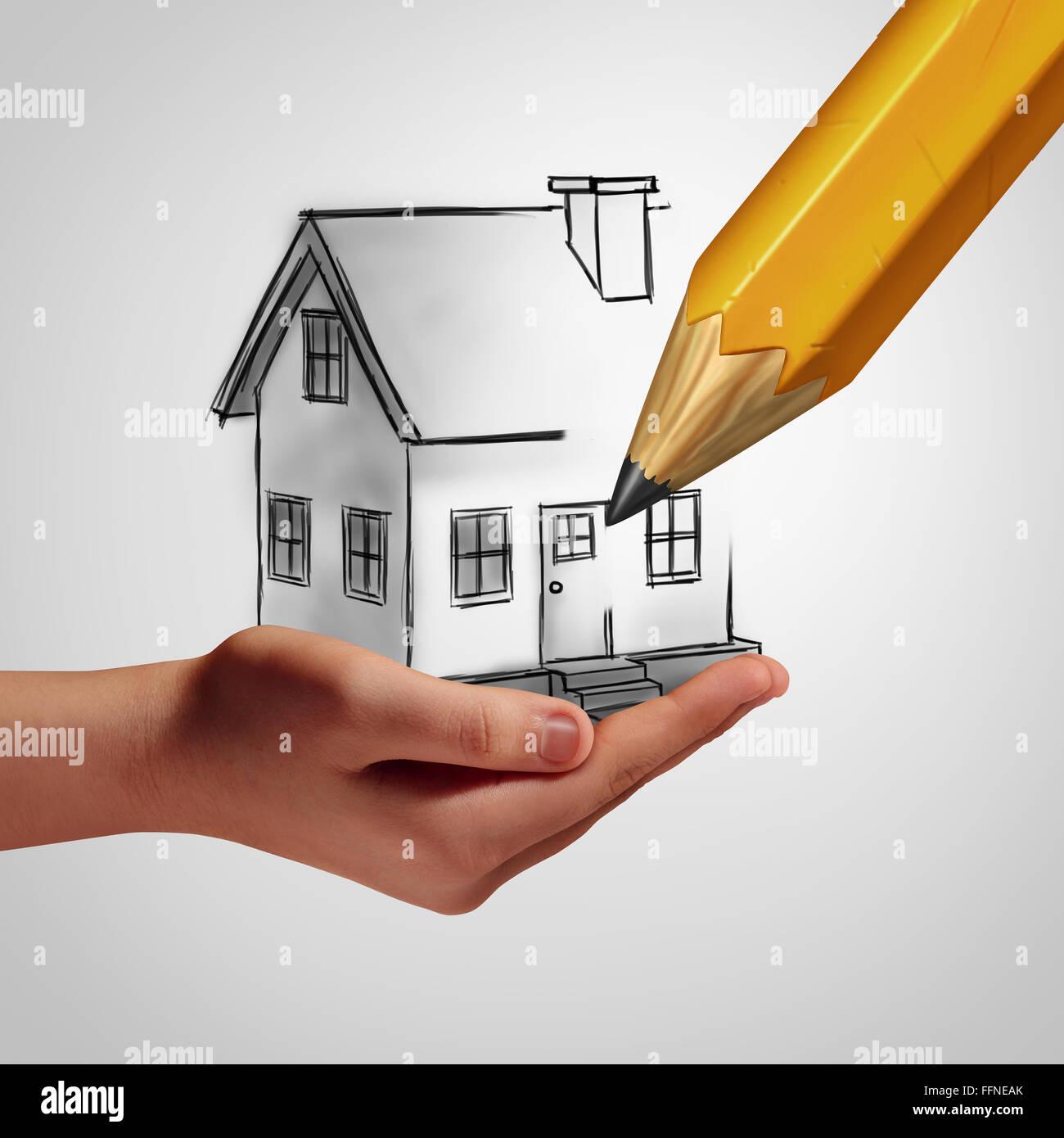 Maison de rêve, une main tenant un dessin d'une maison de famille, qui est en cours d'élaboration Photo Stock