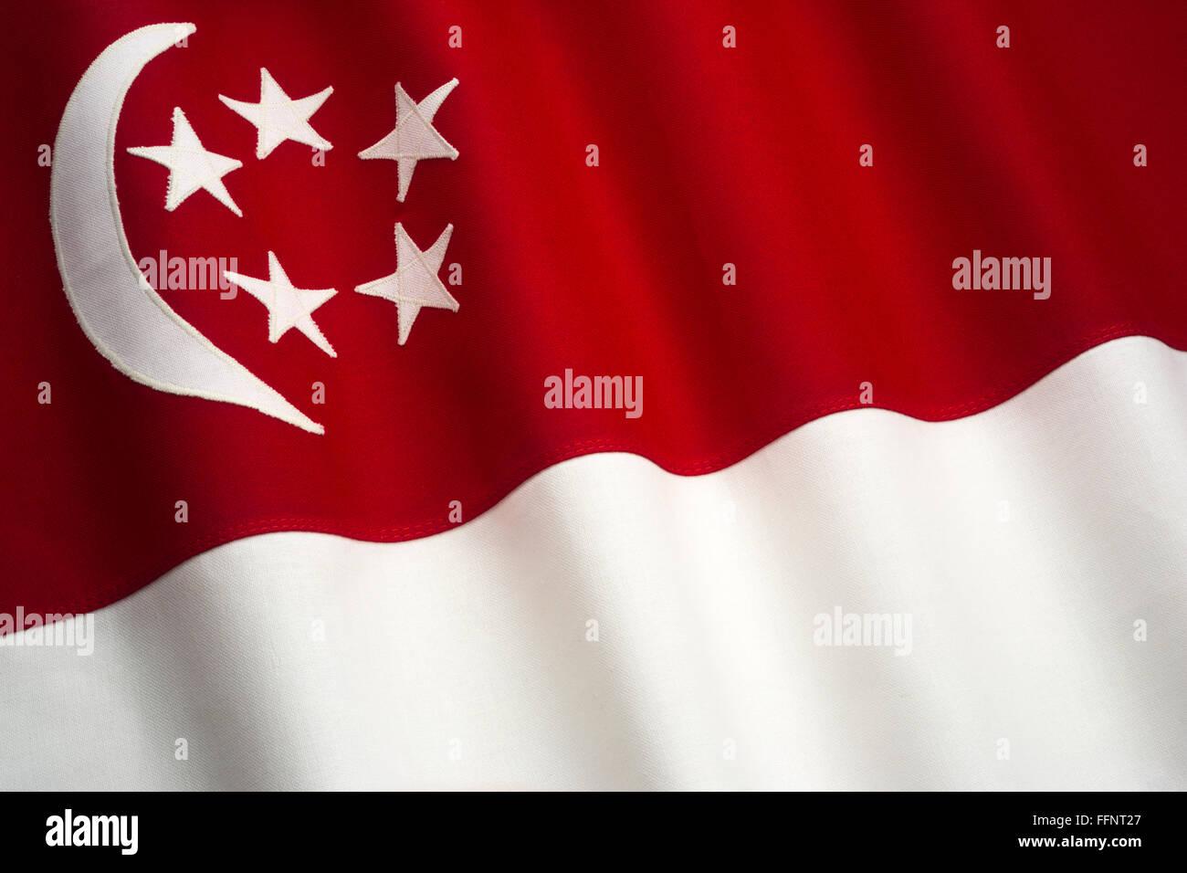 Drapeau de Singapour fait de coton cousu BUNTING Banque D'Images