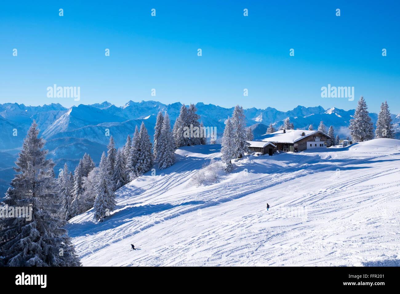 Tölzer Hütte, refuge de montagne, station de ski, Brauneck Lenggries, Isarwinkel, Préalpes bavaroises, Upper Bavaria, Banque D'Images