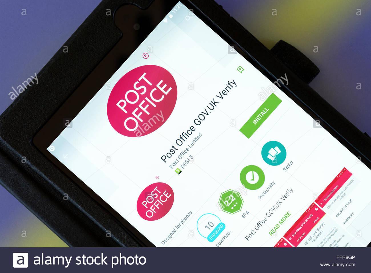 GOV.UK Vérifier l'identité d'une app utilisé sur le bureau de poste sur une app Android Tablet Photo Stock