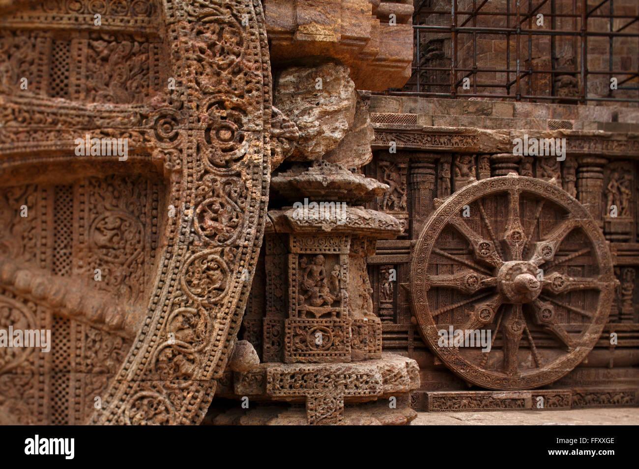 Roue de char du dieu Soleil au temple du Soleil , Orissa , site du patrimoine mondial de l'Inde Photo Stock