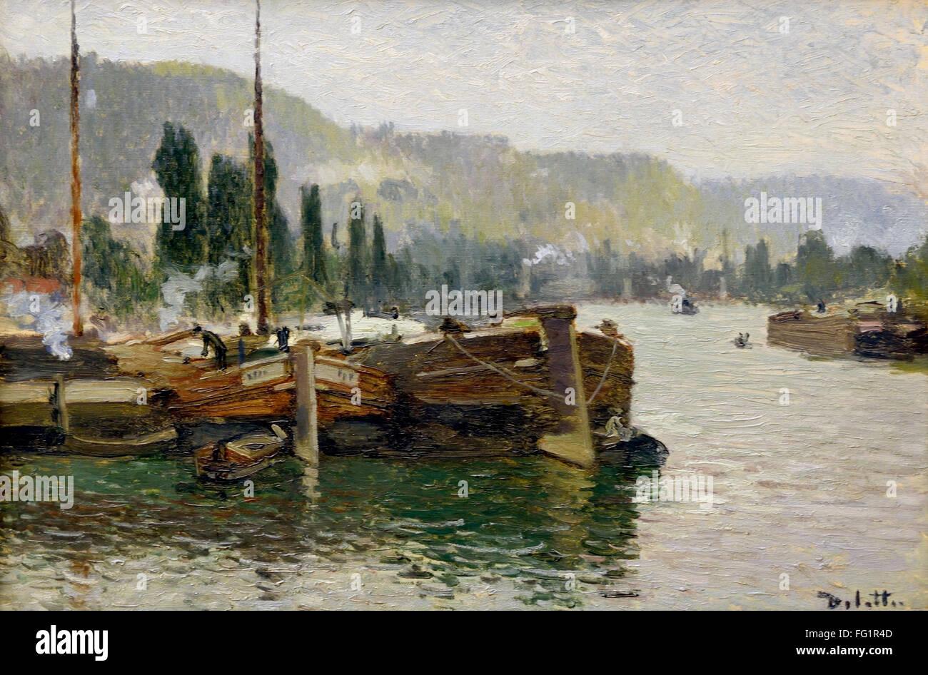 Peintres Ecole De Rouen joseph delattre. 1858-1912. l'école de rouen. péniche pré