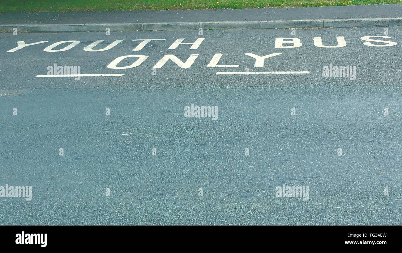 High Angle View of text on Street Photo Stock