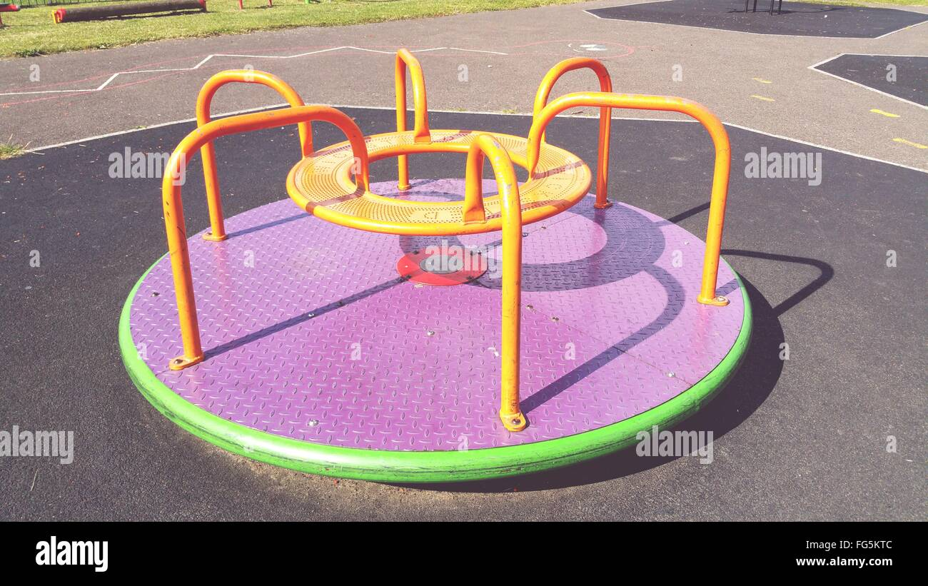 High Angle View Of Merry-Go-Round In Playground Photo Stock