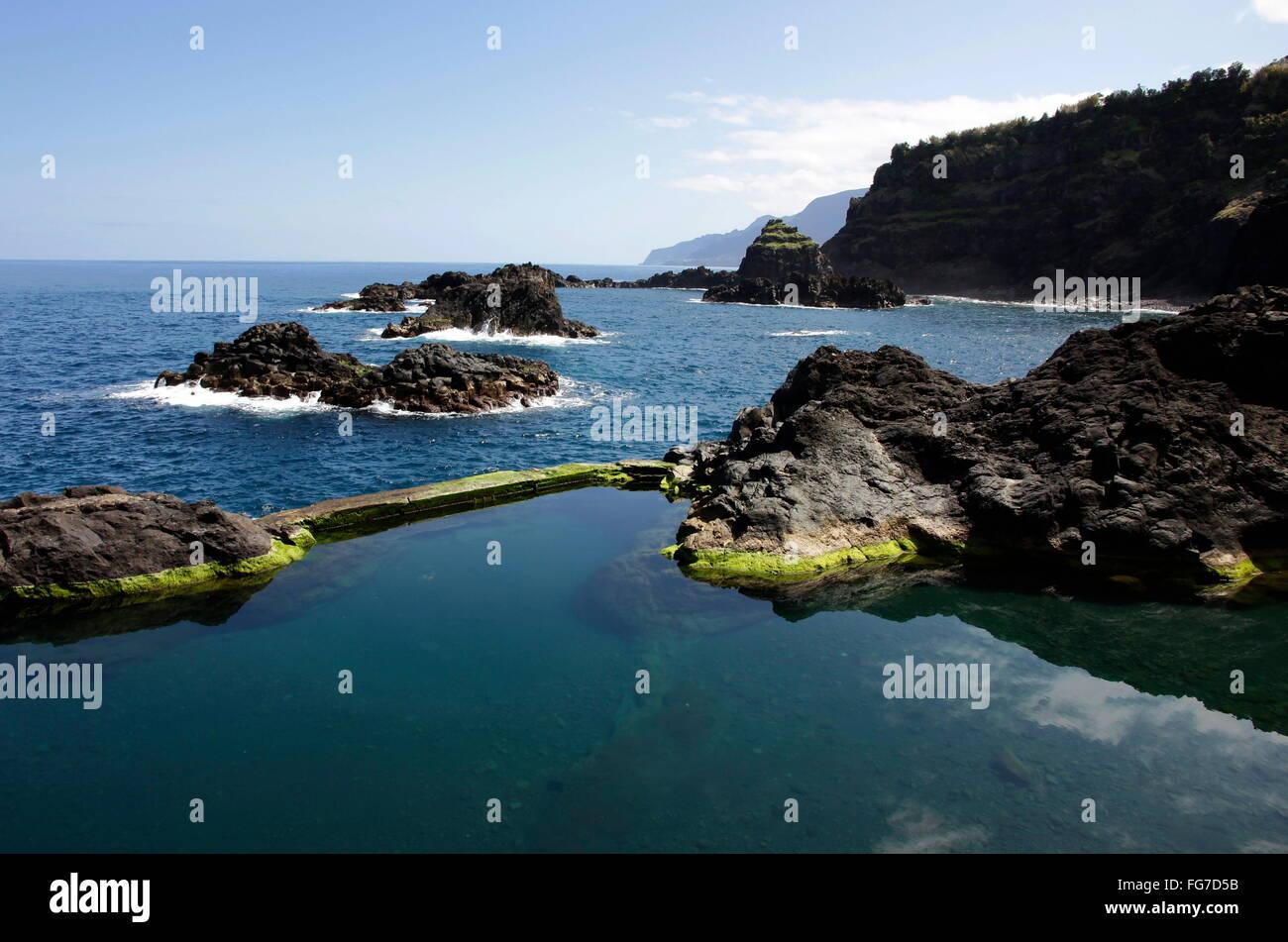 Géographie / voyage, Portugal, Madère, Seixal, nature piscine, Océan Atlantique,-Additional-Rights Clearance-Info Banque D'Images