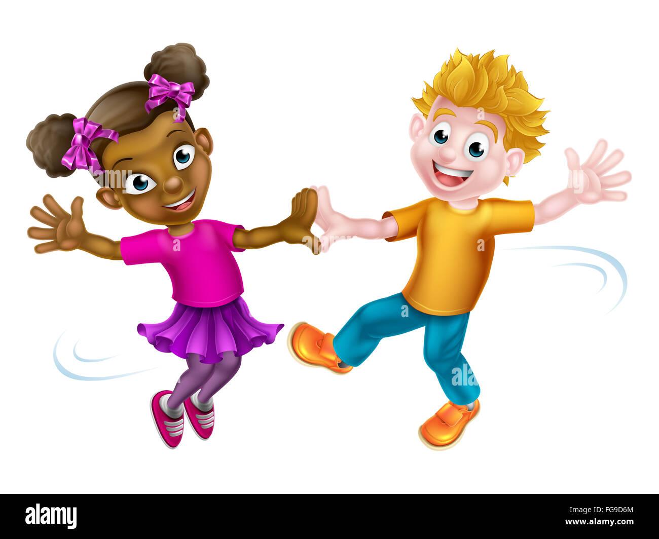 Deux Enfants De Dessin Animé Un Garçon Blanc Et Une Fille