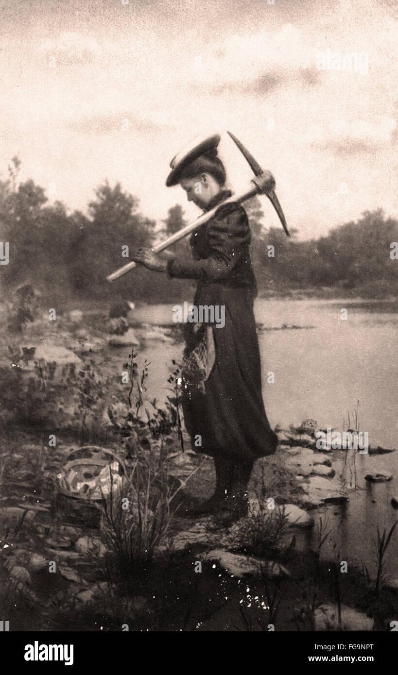 Zonia Baber fossiles rassemblement à Mazon Creek Illinois - 1895 Photo Stock