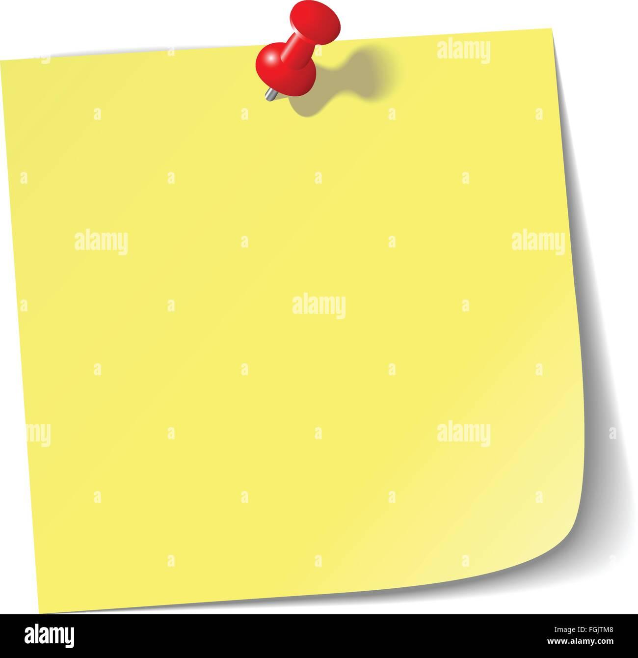 Note de rappel jaune avec broche rouge. Photo Stock
