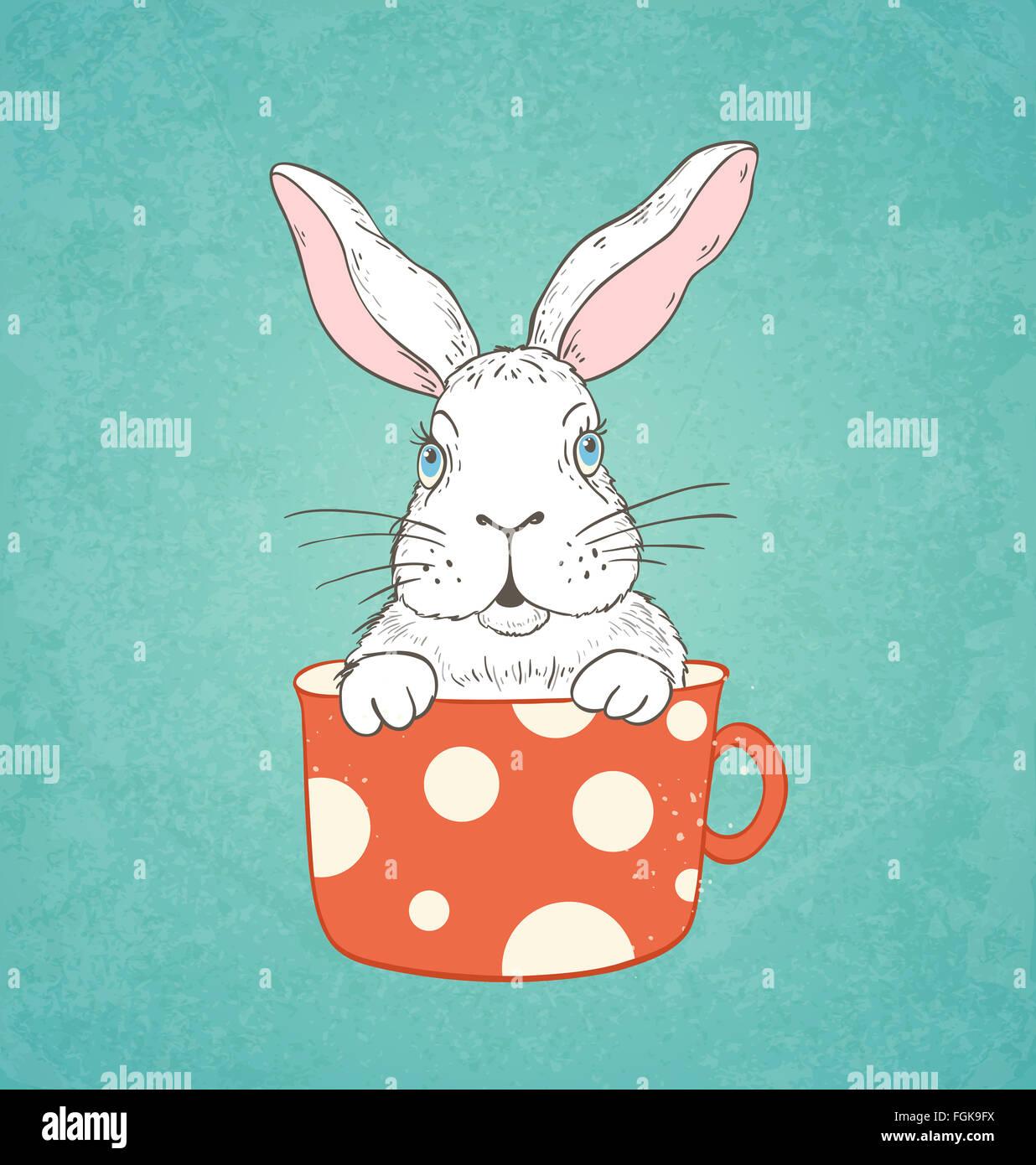 Carte de Pâques dessiné à la main avec lapin blanc dans une tasse rouge Photo Stock