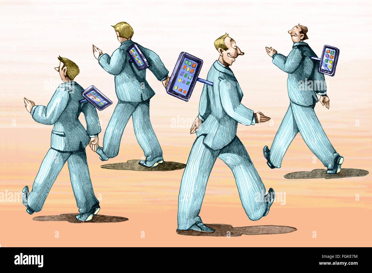 Les hommes à pied comme des automates contrôlés par votre téléphone mobile Photo Stock